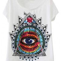 White Eye Print Short Sleeve Summer Tee