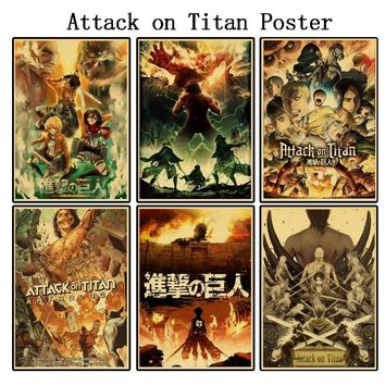 Cool Attack on Titan (Buy 3 Get 1  ) Retro Posters Japanese Anime Paper Printed Clear Image Living room Bedroom Bar Home Art Decor AT_90_11