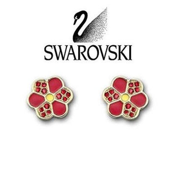 $60 Swarovski Crystal Naive Red Pierced Earrings Gold-plated Studs #1084523 New