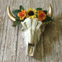 Gorgeous orange and yellow floral gypsy cow skull