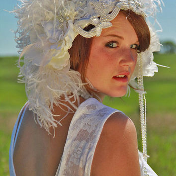 1920s Flapper headpiece Bridal Cap Veil by RetroVintageWeddings