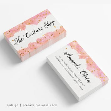 Watercolor Business Card Template Gold Confetti, Calligraphy, Jewelry, Make Up, Design