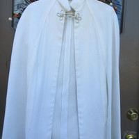 1950 stunning white  evening dress cape  with frog style  closure
