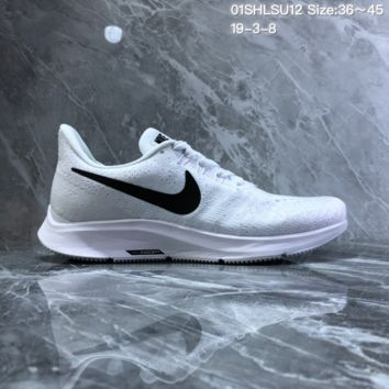 HCXX N1004 Nike Air Zoom Structure 35 Scaly breathable mesh Running Shoes White Black