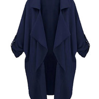 Navy Lapel Roll Up Sleeve Trench Coat