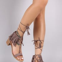 Qupid Suede Fringe Cuff Tassel Lace Up Chunky Heel