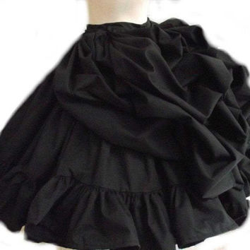 Black Steampunk Bustle Ruffled Victorian Skirt Goth