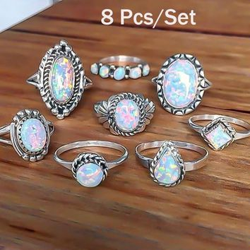 Fashion Rings For Women 2018 Fashion Jewelry New Crystal Natural Fire Opal Rings For Women Anneau Opale Vintage Biker Love Ring