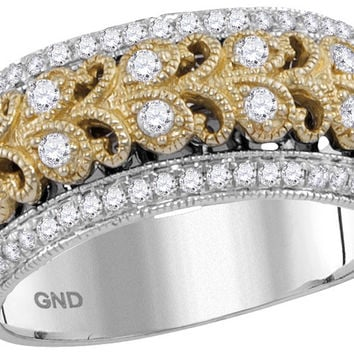 14kt Two-tone White Gold Womens Round Diamond Filigree Band Ring 3/8 Cttw 114180