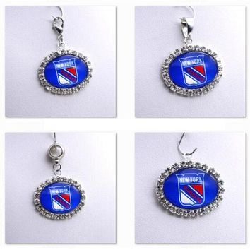 Pendant Charms Rhinestone NHL New York Rangers Charms for Bracelet Necklace for Women Men Ice Hockey Fans Paty Fashion 2017