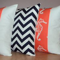 Coral Salmon Sea Horse Panel Beach Theme Nautical Decorative Pillow Cover - Available In 3 Sizes