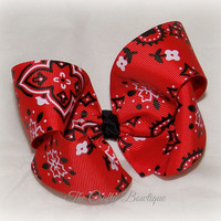 Bandana ~ Classic Style Boutique Hair Bow ~ Black, White and Red ~ Big Hair Bow ~ Fancy Hair Bow ~ Twisted Boutique ~ Country Girl Bow
