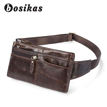 BOSIKAS NEW Genuine Leather Waist Packs Leather Bag Belt Men Phone Pouch Bags Zipper Travel Waist Pack Vintage Male Waist Bag