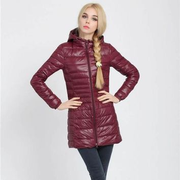 Women's Long Lightweight Winter Jacket 90% Duck Down