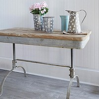 Vintage Distressed Table -- Metal and Fir Wood 47 x 23-1/2-in