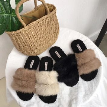Double fur slippers
