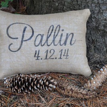 Custom Personalized Name & Date Pillow Cover -- 100% Burlap Pillow-- Wedding Decor -- Wedding Gift -- Shabby Chic -- Personalized Pillow