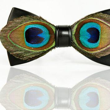 d934b52dc9d9 2017 Unique Handmade Peacock Feather and Leather Bow Tie