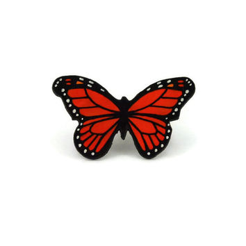 Small orange and black monarch butterfly brooch, handmade monarch butterfly brooch, plastic butterfly fancy brooch (recycled CD)