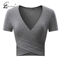 Deep V-Neck T-Shirt Cross Short Sleeve Solid Color Slim Cropped Top 9 Colors