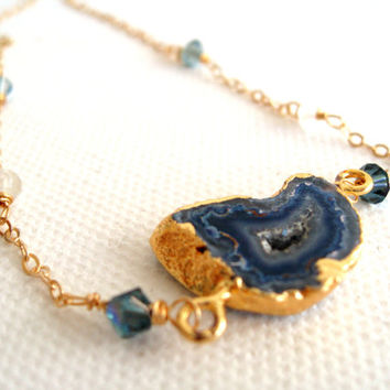 Blue Agate Necklace June Birthstone Vermeil Gold Moonstone Gift for her Under 75 by Vitrine