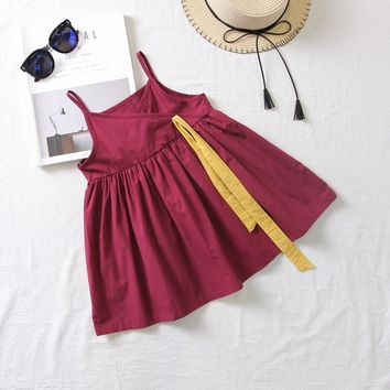 The summer dress of new children's dress  suspenders bow tie dress 4-year-old girl dress