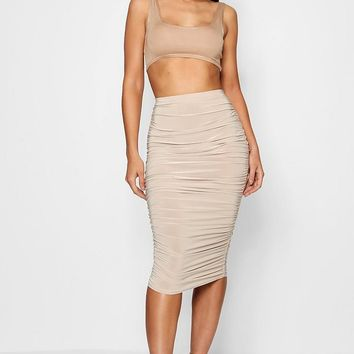 Helena All Over Ruched Midi Skirt | Boohoo