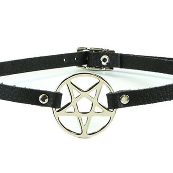 "Silver Inverted Pentagram Black Leather Choker Necklace 1/2"" wide"