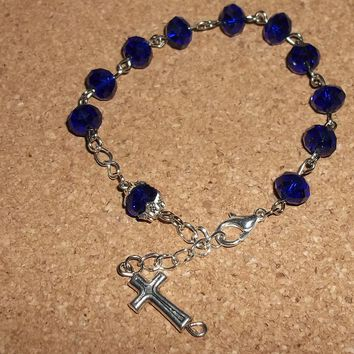 Royal Blue Swarovski Crystal Hand Crafted Rosary Bracelet