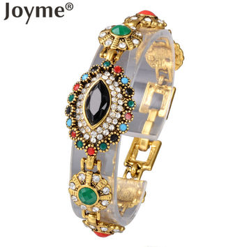 Joyme Brand Luxury Indian Eye Black Gem Exquisite Vintage Gold Charm Bracelet Turkey Ethnic Jewelry Bracelet Women Femme Bilezik