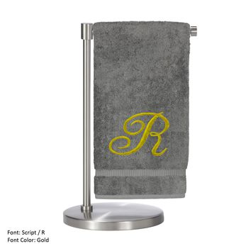 Monogrammed Bath Towel, Personalized Gift, 27 x 54 Inches - Set of 2 - Gold Script Embroidered Towel - 100% Turkish Cotton - Soft Terry Finish - For Bathroom, or Spa - Script R Gray Towels
