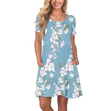 Summer Magnolia Pale Blue Swing Dress