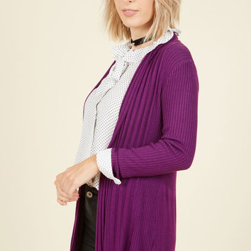 Officewear Official Cardigan in Violet | Mod Retro Vintage Sweaters | ModCloth.com