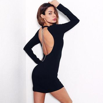 ICIKH3L Solid Color Simple Fashion Backless Hollow Metal Chain Long Sleeve Bodycon Mini Dress