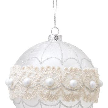 Crochet and Pearl Ornaments - Set of 4 - Holiday Ornaments - Tree Ornaments - Christmas Ornaments | HomeDecorators.com