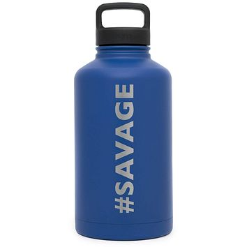 Premium Stainless Steel Growler, Savage Design, Extra Lid, 64oz (Twilight Blue)