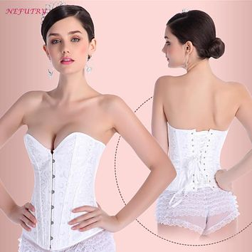 NEFUTRY Sexy Corset Top Corselet Overbust Wedding Corset Bustier Strapless corpete espartilho preto Steampunk Gothic G String