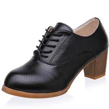 Oxford Shoes for Women Lace up PU Leather Women Shoes Round Toe Women Oxfords Shoes Woman