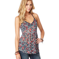 Aeropostale Womens Sheer Ditsy Floral Tie-Back Tunic - Beige,