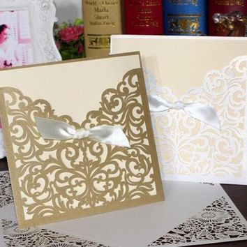 1pcs Square Laser Cut Lace Flower Invitations Cards, Engagement, Wedding