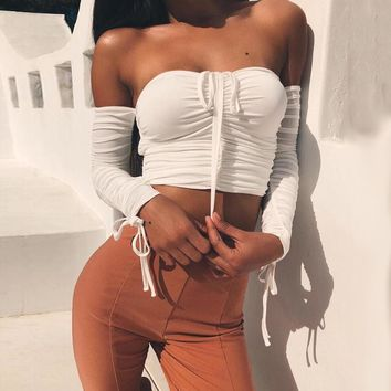 Strapless Strappy Long Sleeve Tight Cami Crop Shirt Top Tee