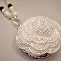 White Rick Rack Rose Pendant Necklace Black and White Beaded Accents