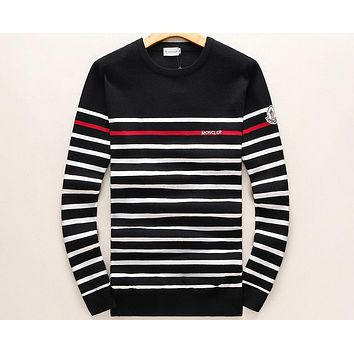 MONCLER 2018 new round neck pullover striped knit long sleeve sweater F-A00FS-GJ black