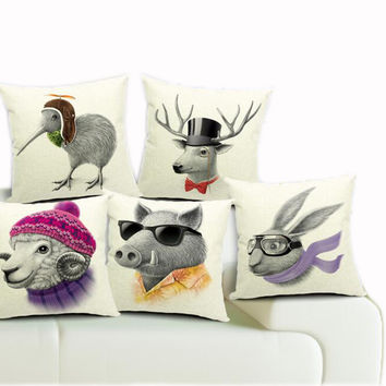 45*45cm Real High Qulity Kiwi Bird Printed Decorative Cushion Cover Wild Boar De
