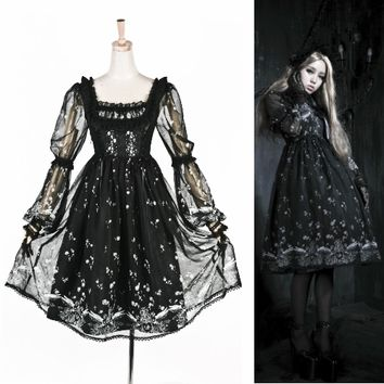 Cute Black Chiffon Gothic Lolita Long Sleeve Prom Party Dresses Women SKU-11402150