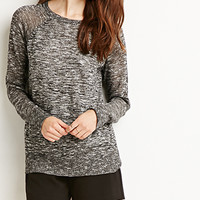 Marled Loose-Knit Raglan Sweater