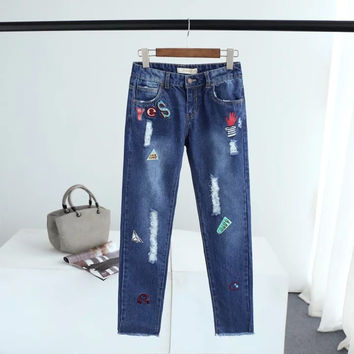 Summer Korean Alphabet Print Embroidery Ripped Holes Pants Denim Skinny Pants [6332323396]
