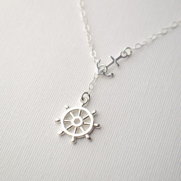 Anchor Necklace | Ship Wheel Necklace | Sterling Silver Lariat Necklace | Nautical Helm Captain's Wheel | Bridesmaids Gifts | Navy Sailor