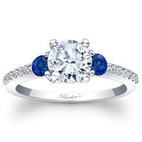 Barkev's Three Stone Blue Sapphire Diamond Engagement Ring