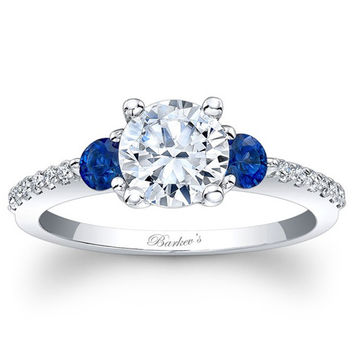 Barkev's 14K White Gold Three Stone Diamond and Blue Sapphire Engagement Ring